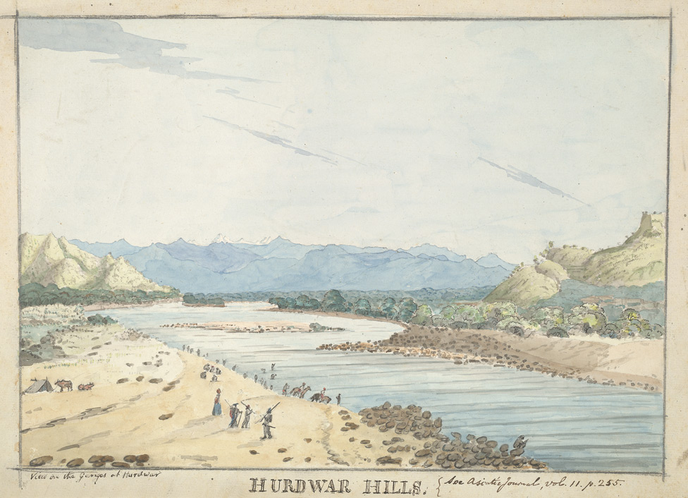 f.23   'View on the Ganges at Hurdwar. Hurdwar Hills. See Asiatic Journal, Vol.ii.  p.255.'